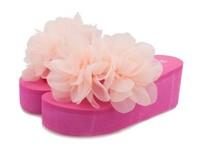 Summer sweet flowers thick high-heeled platform sponge beach slippers