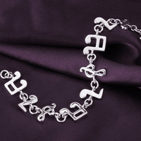 TOP Quality  Best Selling Charm Bracelet 925 Silver Plated Fashion Bracelet  Big musical note Factory Price Wholesale