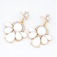 Pretty Fashion Gold Plated Flower White Rhinestone Earrings