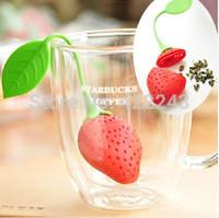 2pcs/lot Silicone Strawberry Design Loose Tea Leaf Strainer Herbal Spice Infuser Filter Tools