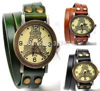 Brand New Luxury Watches Paris Tower design Watch Women Dress Quartz Wristwatch Casual Leather Strap Clock