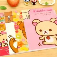 Kawaii Rilakkuma Cartoon 6 Pages Document Bag A4 File Folder Stationery Filing Production