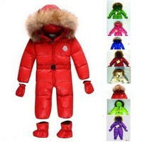 2014 New Winter Baby Large Fur Collar Thickening White Duck Down Rompers Brand Baby Rompers Winter Baby Bodysuits Snowsuits