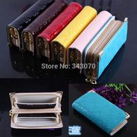 2014 New double zipper chain two fold long purse lady genuine wallet Ms.handbag women wallet free shipping