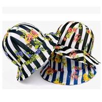 2014 new authentic Korean imports of Japanese Harajuku retro palace striped flowers hat free shipping skt077