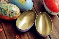 [Express Free Shipping] 12pcs mix Small iron Easter Egg storage box candy jewelry earphone hussif Mini tinplate gift coin box
