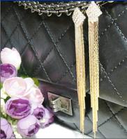 Long design tassel earrings rhombus drop earring platinum vintage stud earring