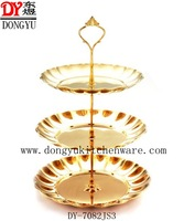 Export Gold Color  Mirror Polished Three Layers Fruit Tray/  Factory Hotsale Cake Trays / Gift Export Trays