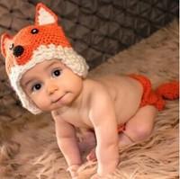 2014 Baby Infant Newborn Crochet Knit Cap Fox Costume Photograph Prop Beanie Hat Set[240869]