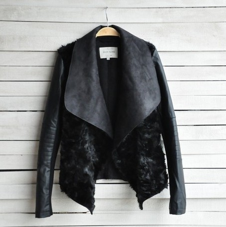 High Quality ! IN STOCK ! Fashion Slim leather jacket for woman female short design river island fur one piece short fur jacket(China (Mainland))