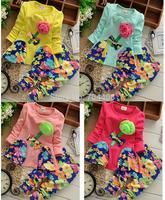 1PC RETAIL- Autumn Baby girls clothing set Flower top+Haroun pants 2pcs/set girls clothes for 2-5years