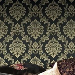 Black Damask Wallpaper Roll Dark Papel De Parede For