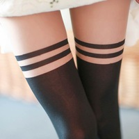 2014 Hot Sale Women Girl Sexy Pantyhose Mock Over Knee Double Stripe Sheer Tights
