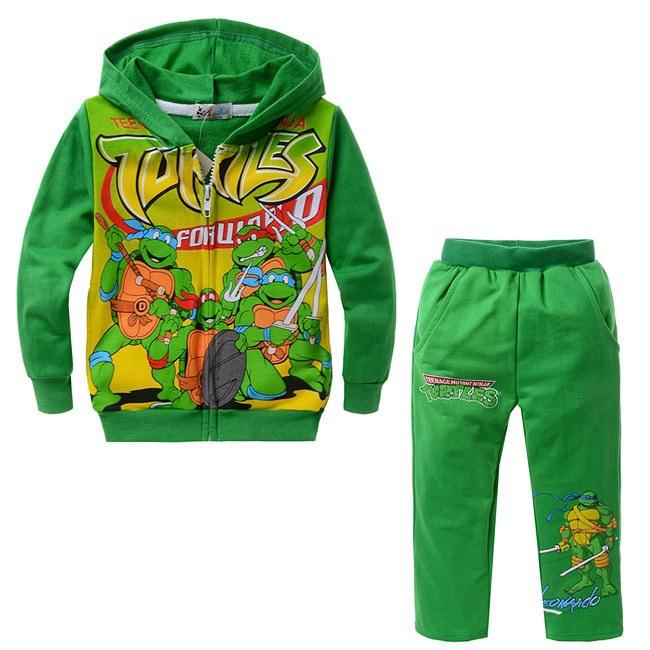 2015 NEW boys cartoon character long sleeve clothing sets kid's Teenage mutant ninja turtles design hooded clothing suits, C214(China (Mainland))