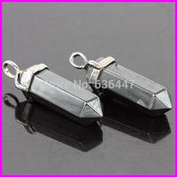 Newest Natural BlackOre Gems Stones Hexagonal Point Reiki Chakra White-K Jewelry Necklaces Earrings Pendant Beads 10pcs/lot