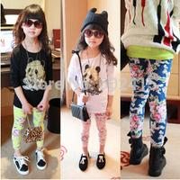 5pcs 2014 Children girl's 2014 spring flower colorful Skinny legging pants 3colors e083