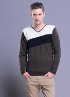 2014 Autumn Men's sweaters Fashion Casual Urban Pullover sweaters V-neck Slim Wild Spell Color Men Long Sleeve Pullover Knitted