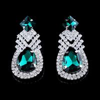 High Quality Water Drop Rhinestone Earrings for Wedding Bridal Fashion Accessories. Luxury Lady Evening Crystal Earrings