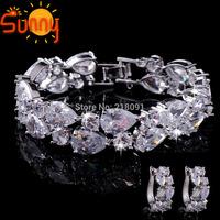 Top Jewellery  MonnaLisa white Cubic Zircon  earrings&bracelets  lady's  white Gold Filled  1set