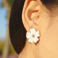 Fashion Elegant Lady Girl White Five Leaves Jasmine Flower Earring Ear Studs