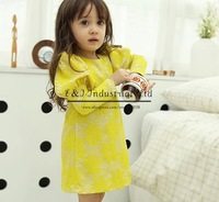 2014 New Girl Dresses Winter And Fass Yellow Lovely Lace Dress Kids Baby Clothes Free Shipping