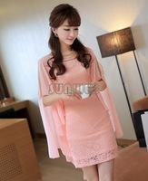 women ladies sweet elegant lace Chiffon Charming mini party fake two-piece dress Pink M L XL with belt b6