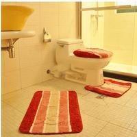 Thickening super soft toilet lid set toilet seats three piece set potty pad door mat cover slip-resistant floor carpet bath rug