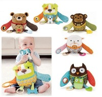 baby multi-function animal model sounding Soft rattle doll toys Hug and Hide Activity Toy music Calm doll ,Plush Toy,5 style