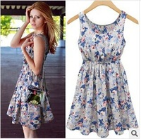 Free Shipping 2014 New Sexy Casual Women Dress Printing Sleeveless Ruffles Dresses Girl Sundress S M L XL