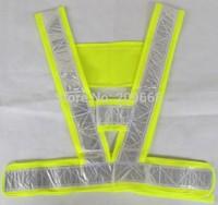 Free Shipping 100pcs/lot V-shape high visibility adult Reflective safety Vest traffic vest sanitation construction working vest