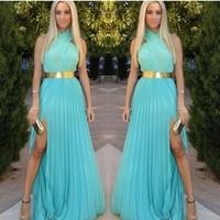 2014 Free shipping Fashion blue cross chiffon dress color mixa dress women cute long summer dresses Fashion with belt