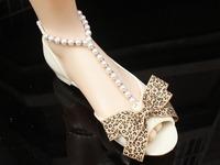 2014 lady flat heel pearl flip leather sandals flip-flop sandals female rhinestone shoes Women sandals flat sandals