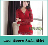 New Autumn Sexy Lace Long Sleeve Women Shirts V-neck design ladies Slim Base T-shirts Casual Tops