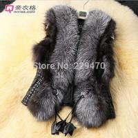 FREE SHIPPING Casaco de inverno feminina short design female fox fur Leather vest outerwear plus size XXXL fur vest women coat