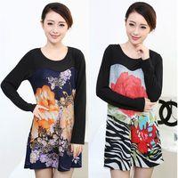 Hot Sale Plus size10 color Spring  Autumn New Fashion Women Print Flower Pattern Winter Dress Female Casual Novelty Warm Dresses