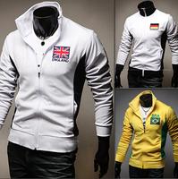 2014 NEW Man autumn Brand jacket Men's Sportswear Hoodie Jackets Zipper Coats Printed Flag For Man WR03