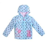Wholesale peppa pig clothing children's hooded windbreaker for girls spring autumn winter kids outerwear girl windproof jacket