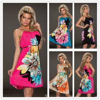 Promotions Multi Flowers Ladies Fashion Dress With belt 2014 new women summer dress hot sale unikue lady beach dress R7971