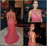 Vestido De Festa Longo 2014 Elegant Appliqued Mermaid Floor Length Chapel Train Formal Evening Dresses Prom Party Dress BO5832