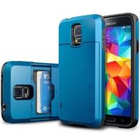 SGP Spigen Slim Armor CS Series Hard Cell Phone Case For Samsung Galaxy S5 SIV I9600 Slide Case Dual Card Storage For galaxys5