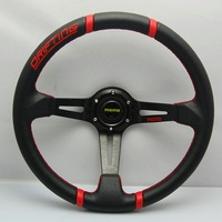 Free shipping New 350mm Racing Sport MOMO PVC Steering Wheel 5125 RED Universal with horn