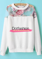 2014 New Spring/Autumn Fashion Sportswear Brand Hot Top Casual White Contrast Organza Floral Loose Pullover Sweatshirt Women