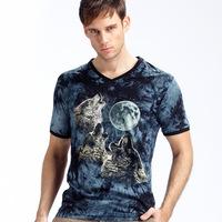 Quick Delivery new 2014 brand t-shirt men, fashion summer t shirt men, Luminous night t shirt v neck man t-shirts Wolf