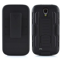 Black Rugged Plastic Hybrid Belt Clip Stand Back Cover For Samsung Galaxy S4 I9500 Phone Bags Cases Free Drop shipping