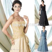 Taffeta Mother Of The Bride Dress With Bolero Lace Dresses Strapless Neckline A Line Floor Length Beaded