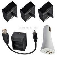 camera  Li-ion 3x Battery+USB dual Charger + USB car charger  for GoPro HD Hero3 Hero 3th AHDBT-201 AHDBT-301 gopro hero3