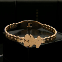 Gurantee 100% 316L Titanium Steel Brand bear bracelet & bangle for women BR159