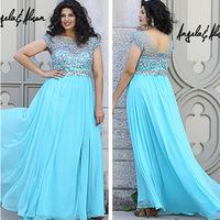 Luxury blue short sleeve vestidos de fiesta longo plus size important party dress prom gowns evening dresses 2014 FSL-249