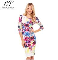 New 2014 Women Fashion Colorful Floral Printing Slim Midi Dress xs-xxl
