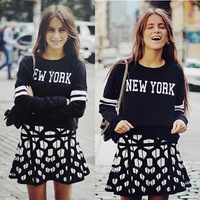 "New 2014 woman pullovers Casual black sweatshirt Thick ""NEW YORK"" Letters Pullover womens sweatshirts Blouses for women C08062"